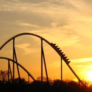 Amusement park ride with rails